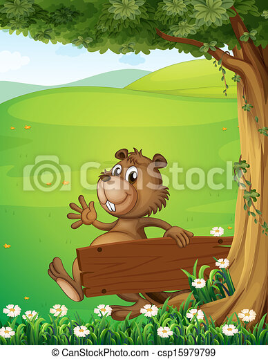 A beaver escaping with an empty wooden signage - csp15979799
