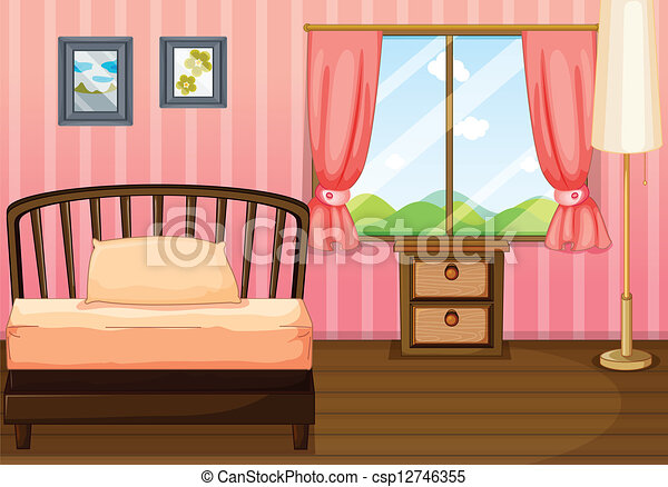 Illustration of a bed, a lamp and a side table in a room clipart ...