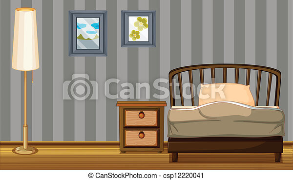 A bed and a lamp - csp12220041