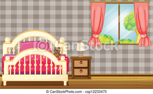 A bed and a lamp - csp12233470