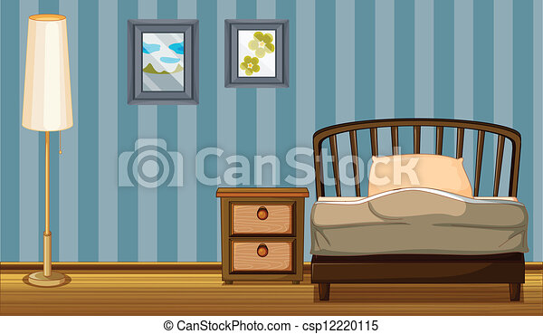 A bed and a lamp - csp12220115