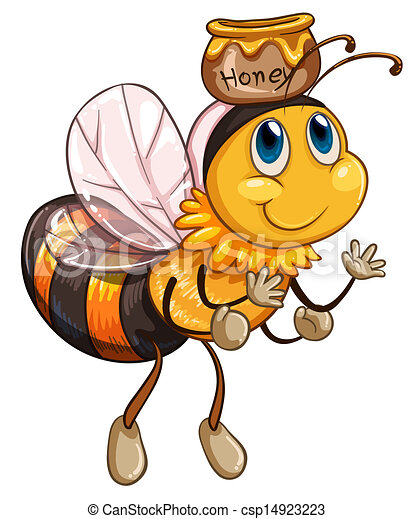 A bee flying with a pot of honey  - csp14923223