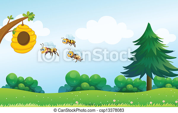 A beehive above the hill with three bees - csp13378083