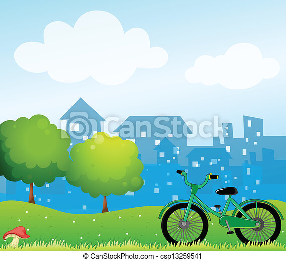 A bicycle in front of the village - csp13259541