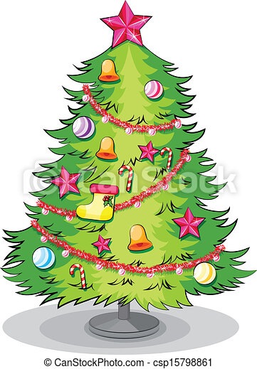 A Big Christmas Tree With Many Decorations Illustration Of A Big