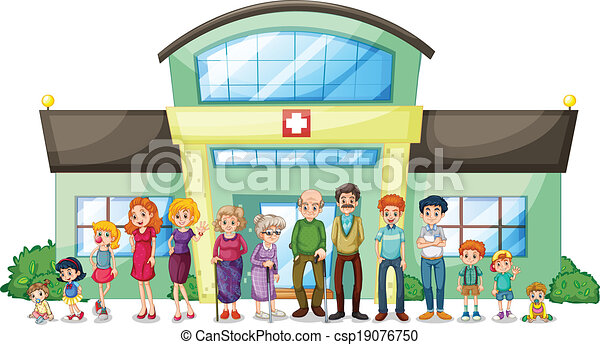 A big family outside the hospital - csp19076750