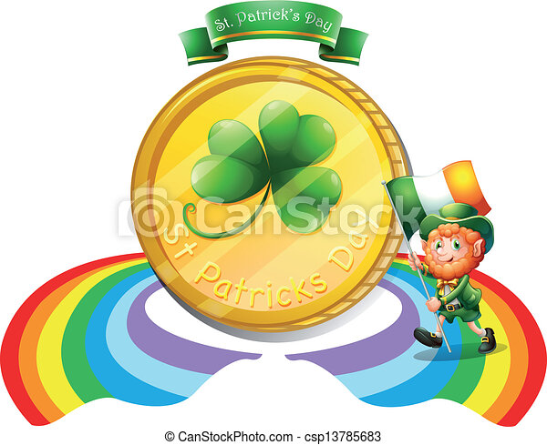 A big golden coin for St. Patrick's day - csp13785683