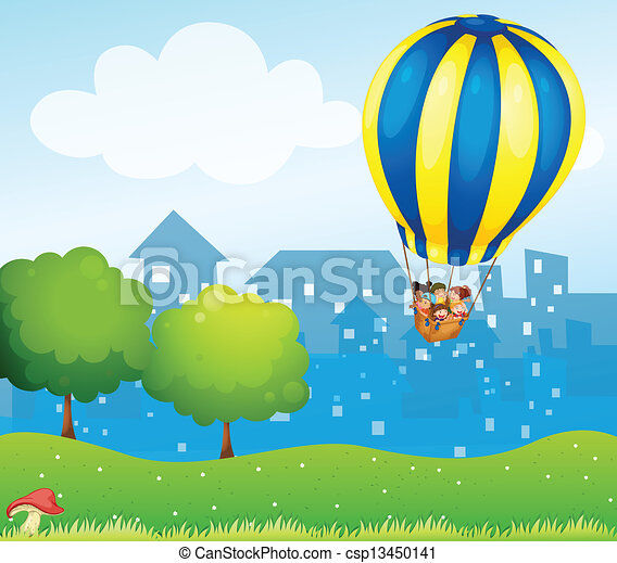 A big hot air balloon above the hill - csp13450141