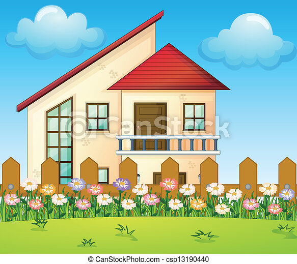 house inside clipart. a big house inside the fence csp13190440 clipart l