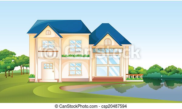 A big house near the lake illustration of a big house for Who draws house plans near me