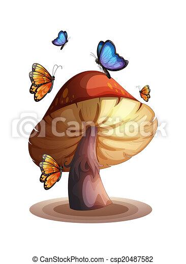 A big mushroom with butterflies - csp20487582