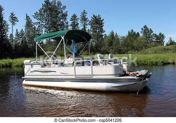 Lovely A big pontoon boat anchored in the river with fishing poles  LL54