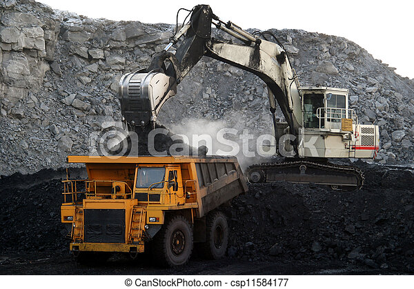 a big yellow mining truck  - csp11584177