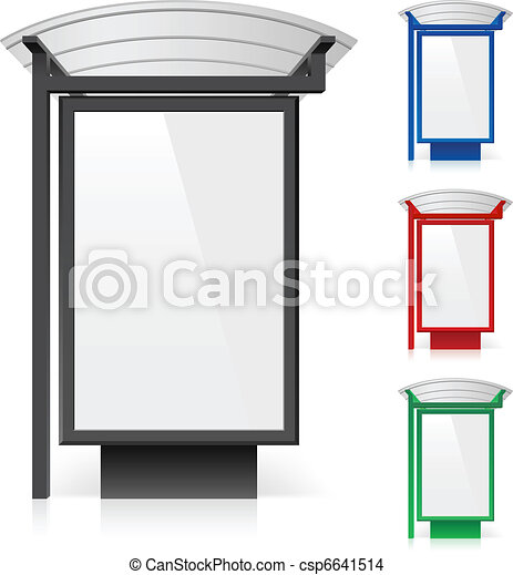 A billboard at a bus stop in different colors - csp6641514