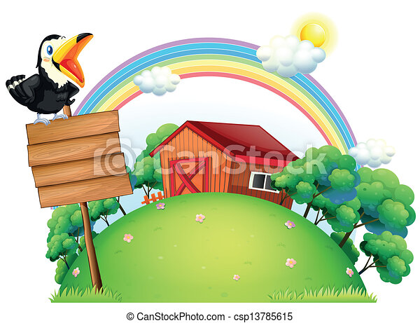 A bird at the top of a wooden signage in front of a house - csp13785615