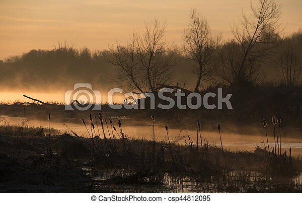 A bit of fog over the river - csp44812095