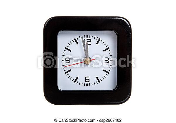a black alarm clock on white - csp2667402