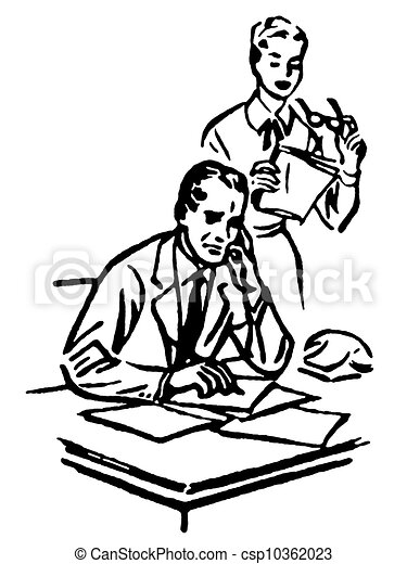 a black and white version of a businessman working at his clip rh canstockphoto com