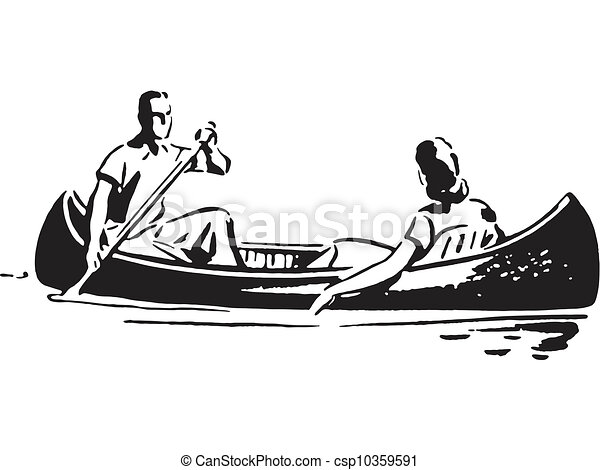 A black and white version of a couple in a canoe - csp10359591