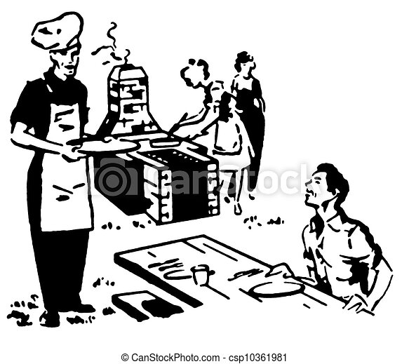 A Black And White Version Of A Family Enjoying A Picnic Barbeque