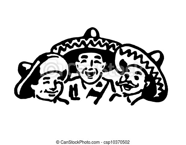 A black and white version of a graphic illustration of a traditional mexican family