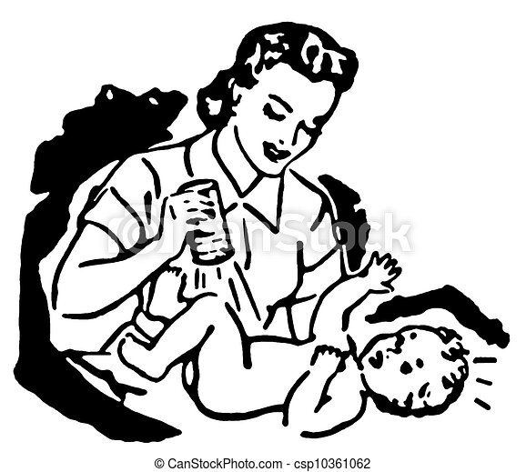 A Black And White Version Of A Mother Changing A Young