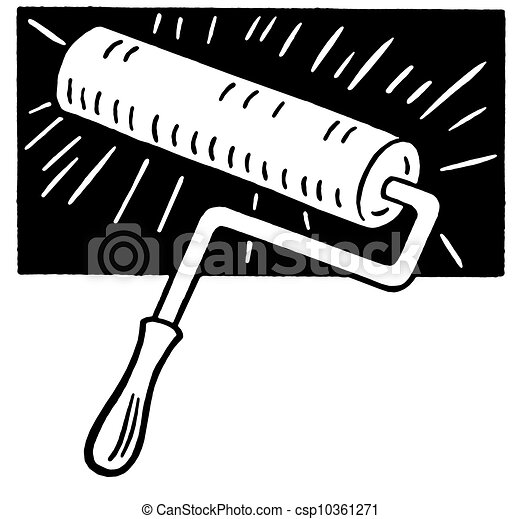 A black and white version of a painting roller brush.