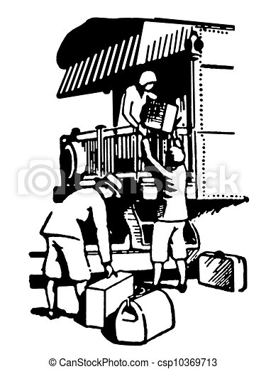 A Black And White Version Of A Vintage Illustration Of People