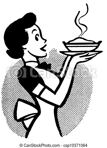 a black and white version of a vintage cartoon of a woman stock rh canstockphoto com pie slice clipart black and white apple pie clipart black and white