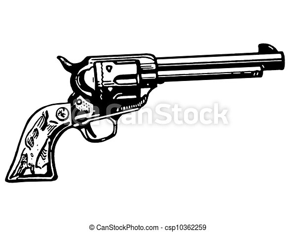 A black and white version of a vintage hand gun.