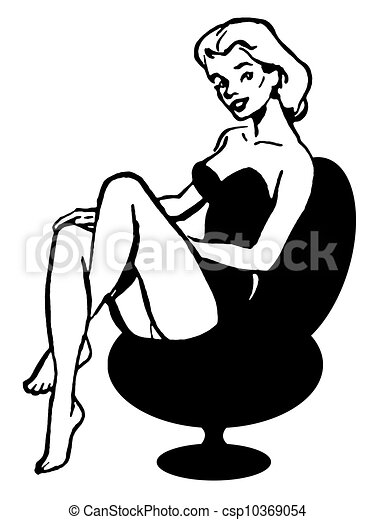 a black and white version of a vintage pin up girl stock rh canstockphoto com pin up girl clipart Pin Up Girl Gum Clip Art