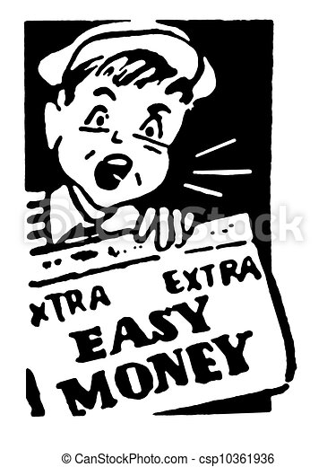 A Black And White Version Of Young Newspaper Boy Holding That Reads Easy
