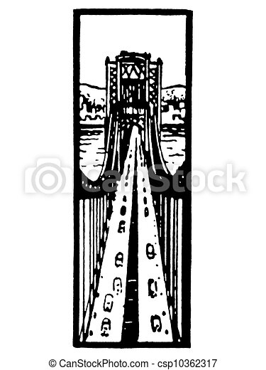 A black and white version of an illustration looking down along a busy bridge - csp10362317
