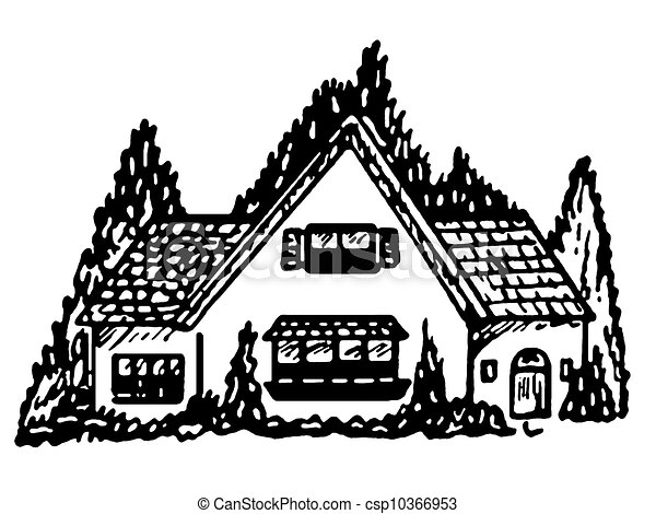 A Black And White Version Of An Illustration Cottage Style Home