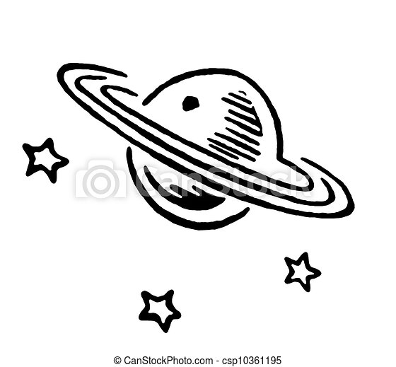 A black and white version of Saturn and three stars - csp10361195