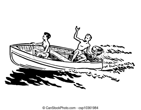 A black and white version of two young boys enjoying a boat ride - csp10361984