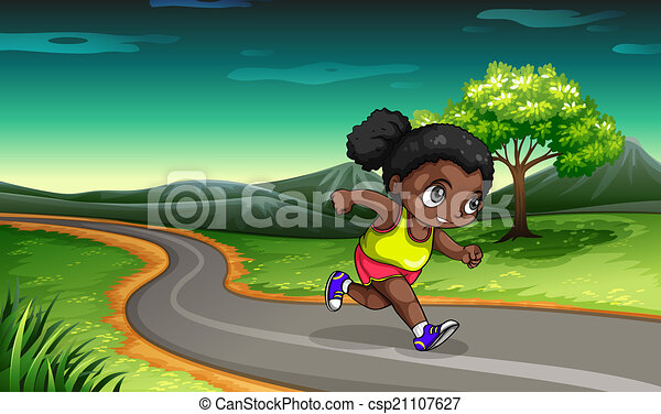 A Black girl jogging - csp21107627