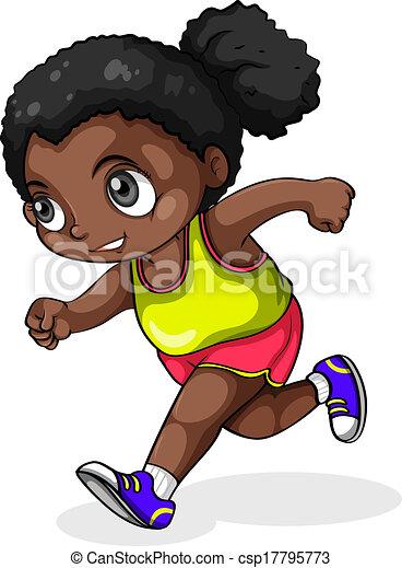 a black girl running illustration of a black girl running on a rh canstockphoto com girl running track clipart girl running drawing clipart