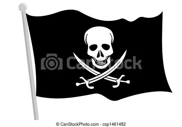 a black pirate flag with pole rh canstockphoto com Original Pirate Flags Pirate Flag Logo