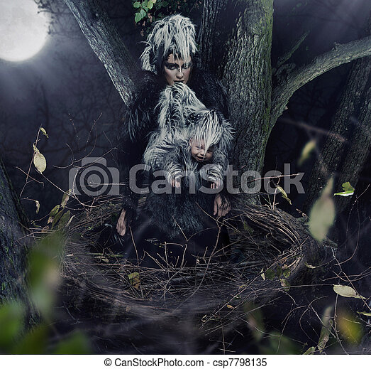 A black raven mother with child - csp7798135