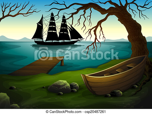 A black ship at the sea across the boat under the tree - csp20487261