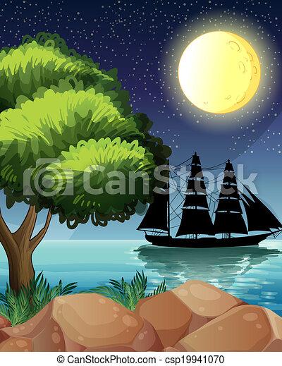 A black ship at the sea under the bright moon - csp19941070