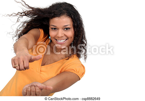 A black woman with both thumbs up. - csp8882649