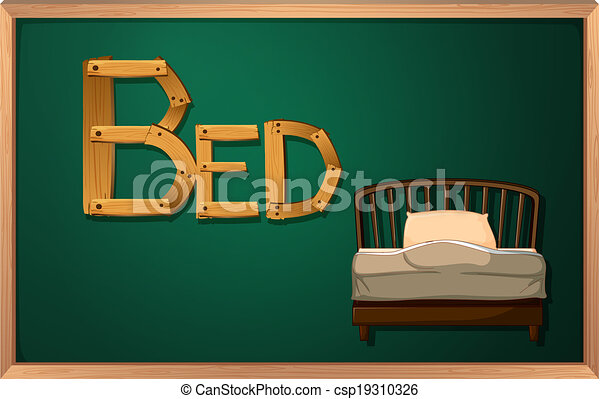 A blackboard with a bed - csp19310326