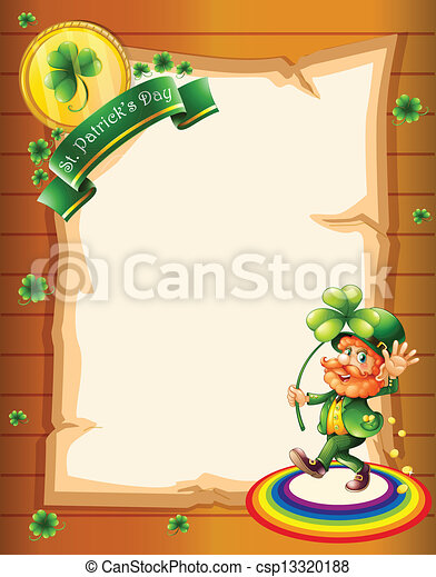 A blank paper with a St. Patrick's Day greeting and a man - csp13320188