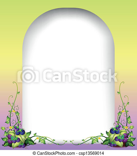 a blank rounded template with vine plants illustration of a blank