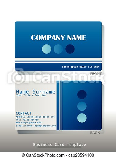 A blue business card template on a white background a blue business card csp23594100 accmission Images