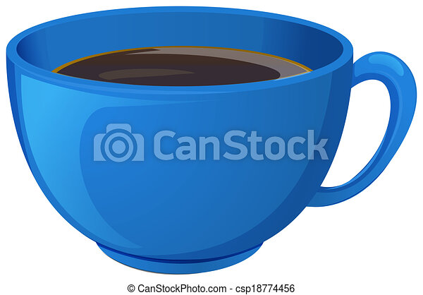 A blue cup with coffee - csp18774456