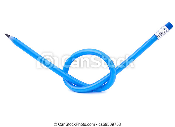 A blue flexible pencil tied in a knot - csp9509753