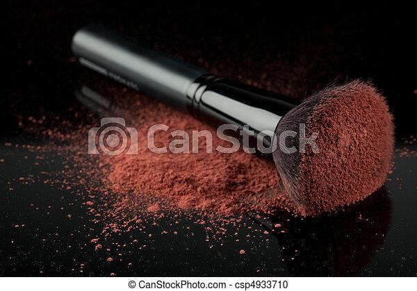 a blush brush, with pink loose blush - csp4933710
